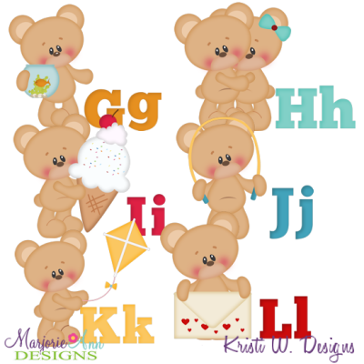 Alphabet Bears G-L SVG Cutting Files Includes Clipart