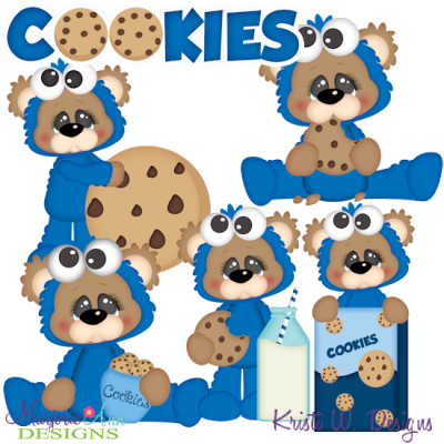 Cookies & Milk Bears SVG Cutting Files + Clipart