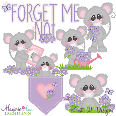 Forget Me Not SVG Cutting Files + Clipart