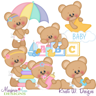 Baby Marshmallow Bear SVG Cutting Files Includes Clipart
