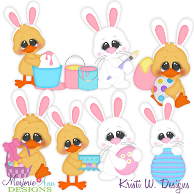 Chicks & Bunnies SVG Cutting Files Includes Clipart