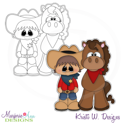 Little Cowboy Digital Stamp + Clipart