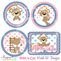 Angel Bears Exclusive SVG Cutting Files + Clipart