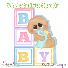 Baby Boy Blocks~Shaped SVG/MTC Card Kit/Cutting File
