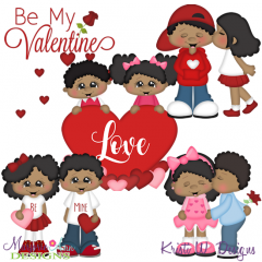 Be My Valentine-African Amercani SVG Cutting Files + Clipart