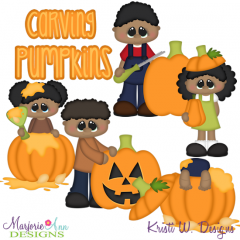 Carving Pumpkins-African American SVG Cutting Files + Clipart