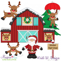 Reindeer Flight School SVG Cutting Files + Clipart