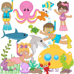 Deep Sea Diving SVG Cutting Files + Clipart