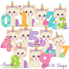 Kittycorn's Birthday Numbers EXCLUSIVE SVG Cutting Files+Clipart