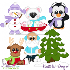 Santa & Friends Winter Fun SVG Cutting Files Includes Clipart