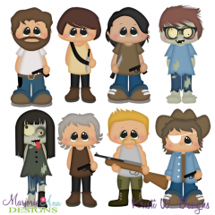 The Walking Cute Set 2 Exclusive SVG Cutting Files + Clipart