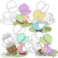Spring Bonnet Girls Digital Stamps + Clipart