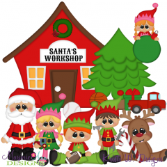 Santa's Workshop SVG Cutting Files Includes Clipart