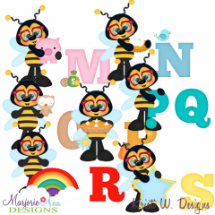 Busy Bees Alphaet M-S SVG Cutting Files + Clipart