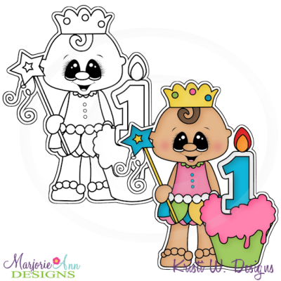 1st Birthday Girl Digital Stamp + Clipart