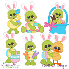 I Turtley Love Easter SVG Cutting Files Includes Clipart