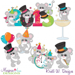 Happy New Year Mice 2015 Cutting Files Includes Clipart