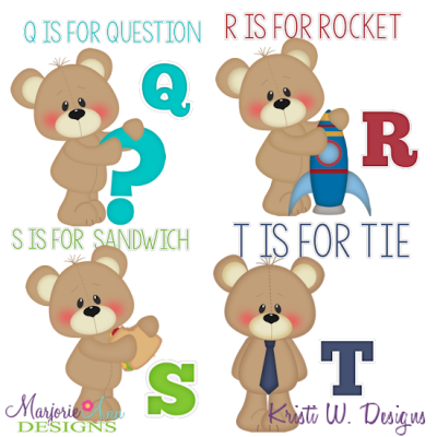 Patches The Bear Alphabet Q-T SVG Cutting Files + Clipart
