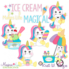Unicorns & Ice Cream SVG Cutting Files + Clipart