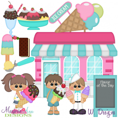 Ice Cream Shop SVG Cutting Files + Clipart