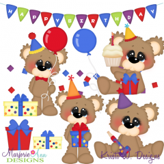 Bubbles The Bear 1st Birhday SVG Cutting Files Includes Clipart