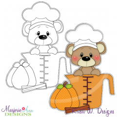 Pumpkin Spice Bear 2 Digital Stamp + Clipart