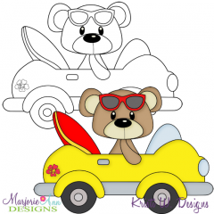 Beach Bear 4 Exclusive Digital Stamp + Clipart