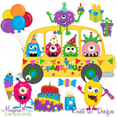 Monster Party Bus SVG Cutting Files Includes Clipart
