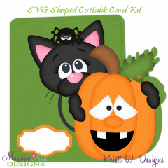 Cute Halloween Cat~Shaped SVG/MTC Card Kit/Cutting File