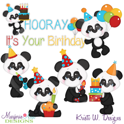 Baby Panda Birthday SVG Cutting Files Includes Clipart