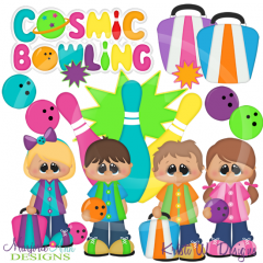 Cosmic Bowling SVG Cutting Files Includes Clipart