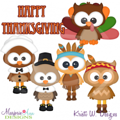 Thanksgiving Hoots SVG Cutting Files Includes Clipart