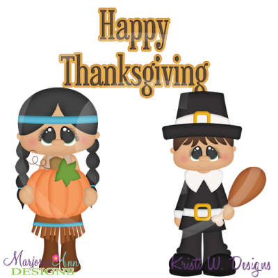 Holiday Kids~Thanksgiving SVG Cutting Files Includes Clipart