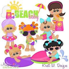 Beach Fun Girls Cutting Files-Includes Clipart