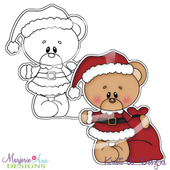 Santa Bear Digital Stamp + Clipart
