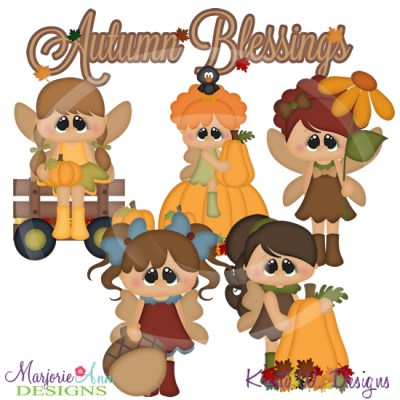 Autumn Pixies SVG Cutting Files Includes Clipart