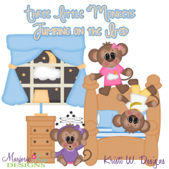 Three Little Monkeys SVG Cutting Files + Clipart