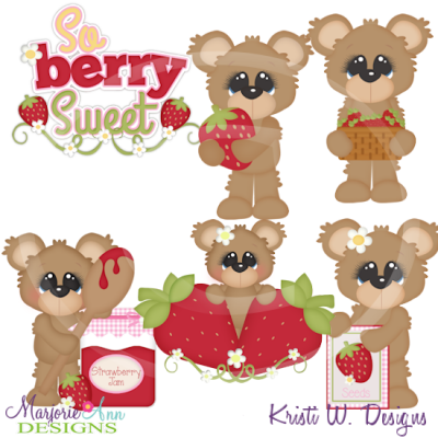 Berry Sweet Bears SVG Cutting Files Includes Clipart