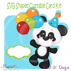 Baby Panda Birthday~Shaped SVG/MTC Card Kit/Cutting File