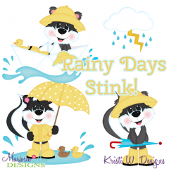 Rainy Days Stink SVG Cutting Files + Clipart
