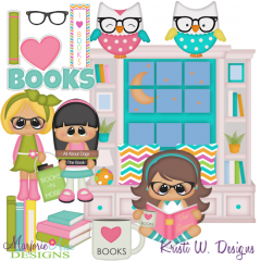 I Love Books SVG Cutting Files Includes Clipart