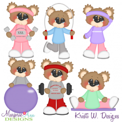 Bubbles The Bear Getting Fit SVG Cutting Files Includes Clipart