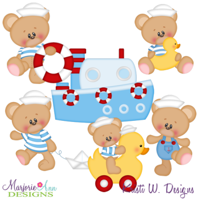 Marshmallow Bear Waterside SVG Cutting Files + Clipart