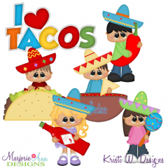 I Love Tacos SVG Cutting Files Includes Clipart