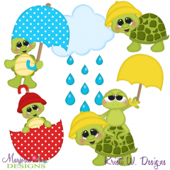 Rainy Day Turtles SVG Cutting Files Includes Clipart