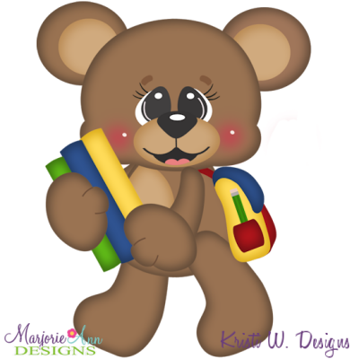 Back To School Bear SVG Cutting Files + Clipart