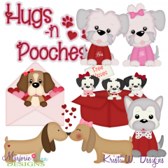 Hugs & Pooches SVG Cutting Files Includes Clipart