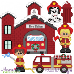 Winter Village~Fire Department SVG Cutting Files + Clipart