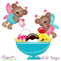 Ice Cream Fairy Bears SVG Cutting Files Includes Clipart