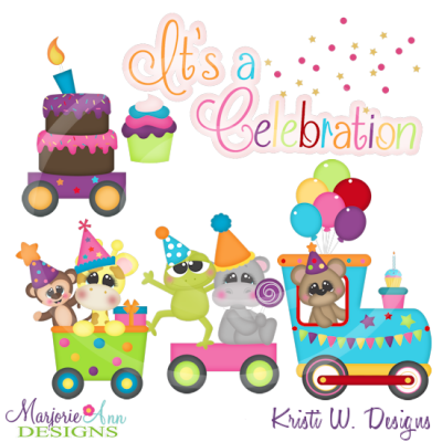 Party Animal's Birthday Train Cutting Files-Includes Clipart